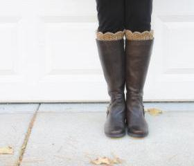 Scallop Boot Cuffs // Boot Socks in Camel