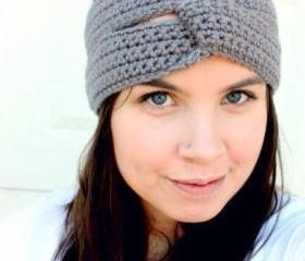 Turban Style Headband in Grey
