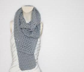 Bow Scarf // Infinity Scarf in Light Grey