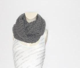  Cowl Scarf // Infinity Scarf in Titanium Grey