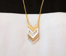 Gold // Silver Chevron Bib Statement Necklace