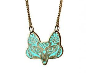 Fox Statement Necklace in Bronze with Turquoise Accent