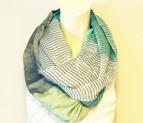 Mint Color Block Infinity Scarf